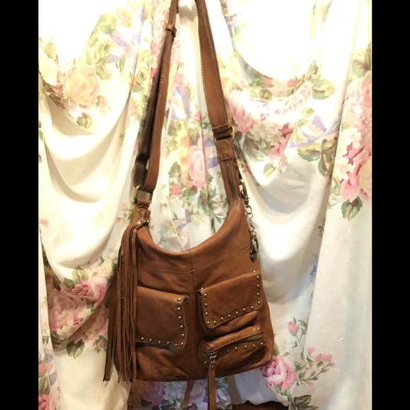 Lucky Brand Handbags - Lucky Brand's Vintage Tan Leather Hobo Bag